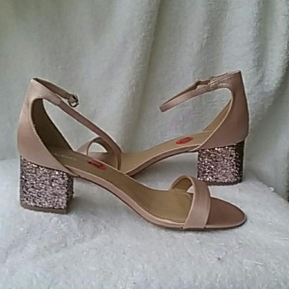 2e019432198 ALDO Victoria Ankle Strap Glitter Block Heel Sanda
